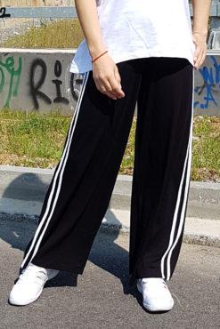 Παντελόνα ψηλόμεση με ρίγες στο πλάι σε μαύρο