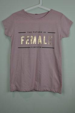 "T-shirt με χρυσό μεταλλικό τύπωμα ""female"""