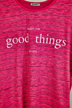 "T-shirt ασύμμετρο με τύπωμα ""good things"""