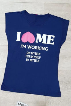 "T-shirt με τύπωμα ""i love me"" σε μπλε"