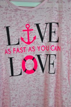 """T-shirt ασύμμετρο με τύπωμα """"live love"""""""