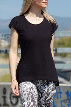 Μπλούζα φλάμα ασύμμετρη μαύρη