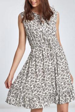 Φόρεμα εμπριμέ με δέσιμο μπροστά λευκό