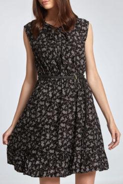 Φόρεμα εμπριμέ με δέσιμο μπροστά μαύρο