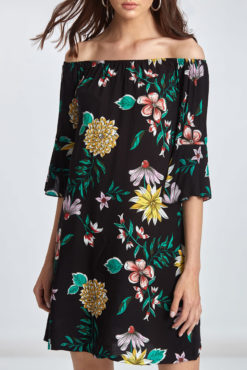 Mini φόρεμα φλοράλ με έξω ώμους μαύρο