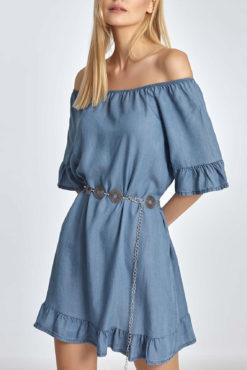 Φόρεμα με έξω ώμους και βολάν σε ίντιγκο
