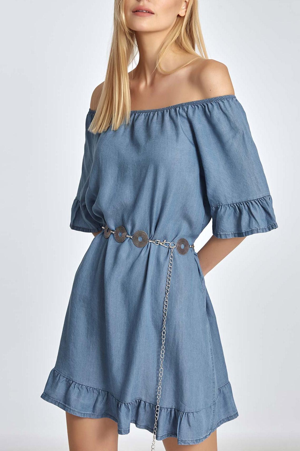 40d5db744b7c Φόρεμα με έξω ώμους και βολάν σε ίντιγκο χρώμα