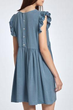 Φόρεμα με βολάν στα μανίκια και κουμπιά στην πλάτη