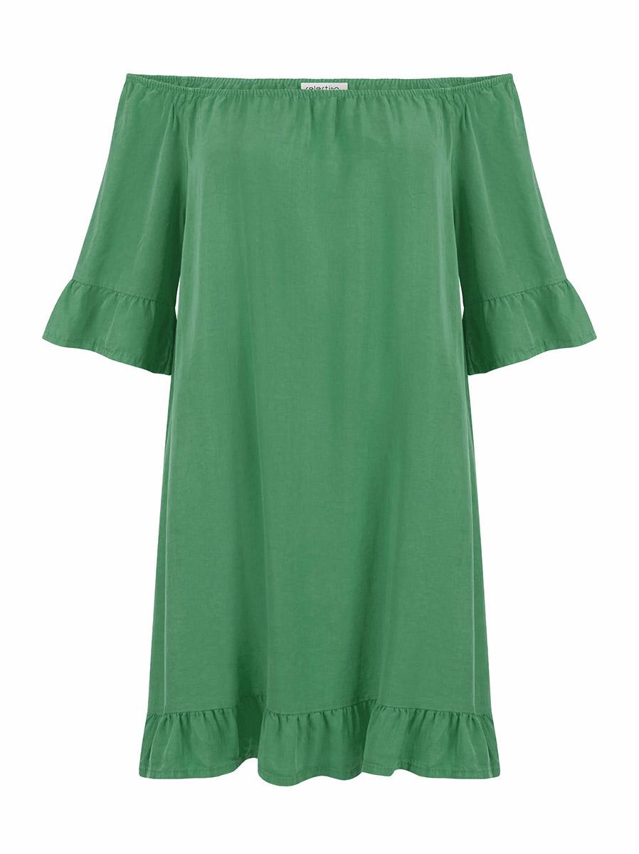 2c405ca4e1af Φόρεμα με έξω ώμους και βολάν σε πράσινο χρώμα