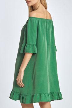 Φόρεμα με έξω ώμους και βολάν σε πράσινο