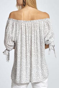 Μπλούζα φλοράλ με ανοιχτούς ώμους σε γκρι αποχρώσεις
