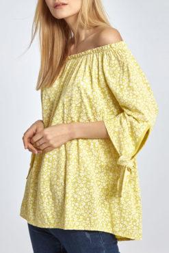Μπλούζα φλοράλ με ανοιχτούς ώμους σε κίτρινες αποχρώσεις