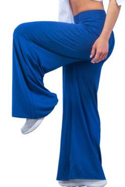 Παντελόνα ψηλόμεση μονόχρωμη μπλε ρουά
