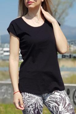 Μπλούζα βαμβακερή σε μαύρο