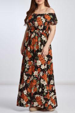 Φόρεμα maxi έξωμο φλοράλ σε μαύρες αποχρώσεις