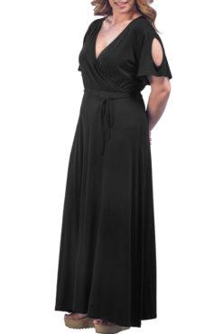 Φόρεμα μακρύ κρουαζέ με ανοιχτούς ώμους μαύρο
