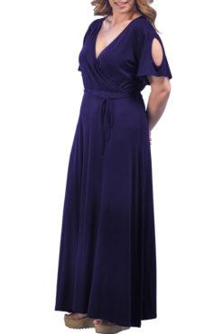 Φόρεμα μακρύ κρουαζέ με ανοιχτούς ώμους μπλε