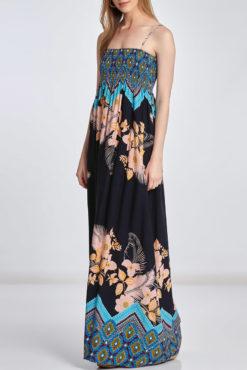 Φόρεμα maxi εμπριμέ με σφηκοφωλιά
