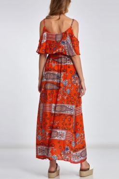 Maxi εμπριμέ φόρεμα με τιράντες και βολάν