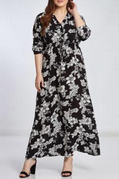 Φόρεμα maxi εμπριμέ με V λαιμόκοψη σε μαύρες αποχρώσεις