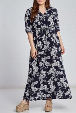 Φόρεμα maxi εμπριμέ με V λαιμόκοψη σε μπλε σκούρες αποχρώσεις