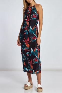 Maxi εμπριμέ φόρεμα με μεταλλιζέ κορδόνι σε μπλε σκούρες αποχρώσεις