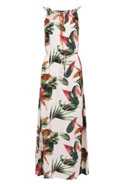 Maxi εμπριμέ φόρεμα με μεταλλιζέ κορδόνι σε λευκές αποχρώσεις