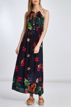 Φόρεμα maxi με μεταλλιζέ κορδόνι σε μπλε σκούρες αποχρώσεις