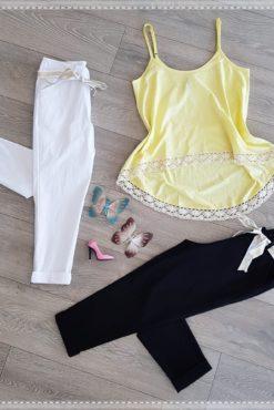 Μπλούζα με πέρλες και δαντέλα + παντελόνι 3/4 ελαστικό