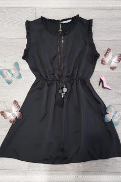 Φόρεμα μαύρο με βολάν στα μανίκια