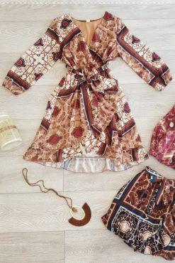 Φόρεμα κρουαζέ εμπριμέ με ζωνάκι στη μέση