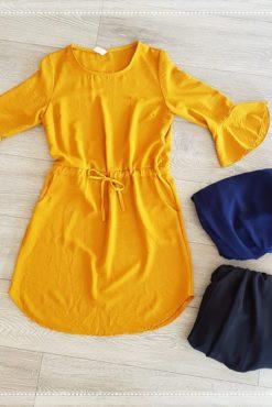 Φόρεμα με ζωνάκι & βολάν στα μανίκια
