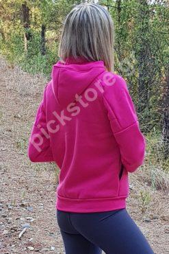 Γυναικεία ζακέτα φούτερ με κουκούλα σε φούξια χρώμα
