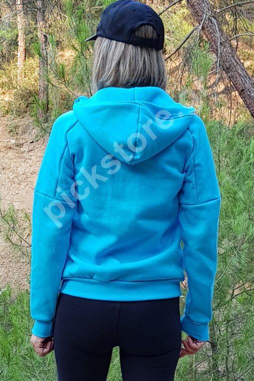 Γυναικεία ζακέτα σε χοντρό φούτερ με κουκούλα γαλάζια
