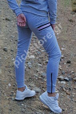Παντελόνι φούτερ ίσιο με διακοσμητικές ρίγες γκρι