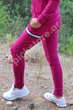 Παντελόνι φούτερ ίσιο με διακοσμητικές ρίγες μπορντό