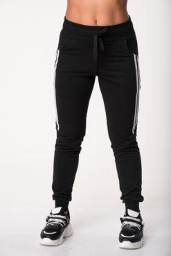 Παντελόνι φόρμας φούτερ με διακοσμητικές ρίγες στο πλάι μαύρο