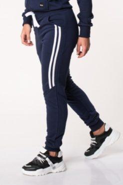 Παντελόνι φόρμας φούτερ με διακοσμητικές ρίγες στο πλάι μπλε
