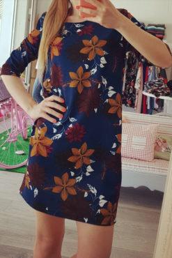 Φόρεμα σάκος φλοράλ με 3/4 μανίκι