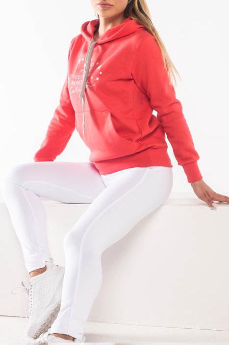 Μπλούζα φούτερ με στάμπα και κουκούλα κοραλί