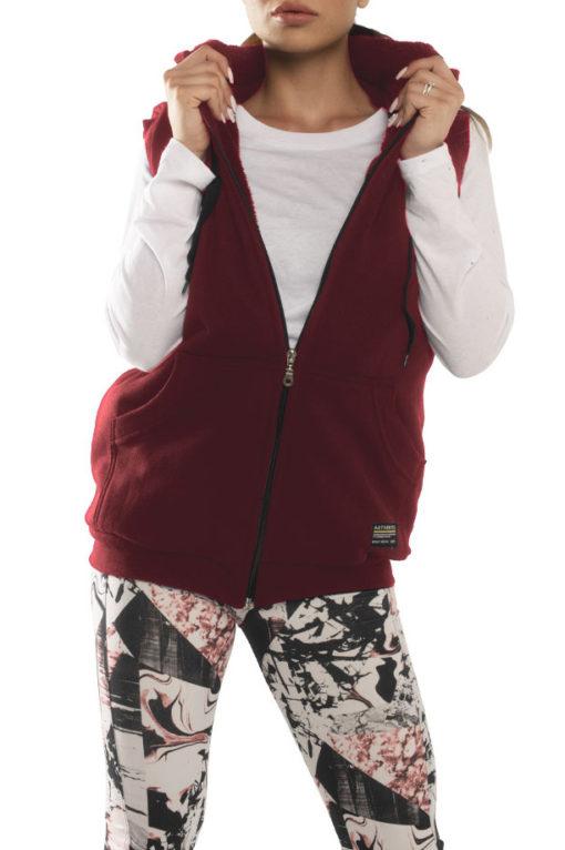 Γιλέκο φούτερ με κουκούλα και γούνινη επένδυση μπορντό