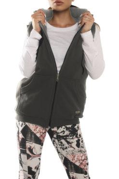 Γιλέκο φούτερ με κουκούλα και γούνινη επένδυση γκρι