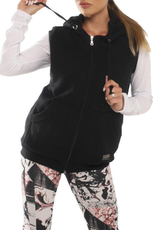 Γιλέκο φούτερ με κουκούλα και γούνινη επένδυση μαύρο
