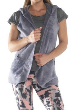 Γυναικείο αμάνικο γιλέκο γουνάκι με κουκούλα σε γκρι χρώμα