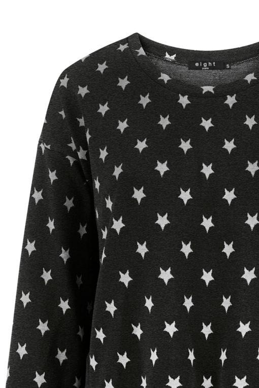 Cropped φούτερ με αστέρια μαύρο