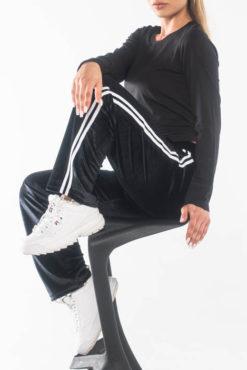Παντελόνι φόρμας βελούδο με ρίγες στο πλάι μαύρο