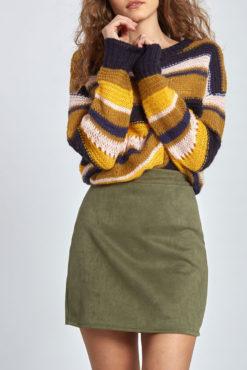 Μίνι φούστα από συνθετικό σουέντ σε χακί