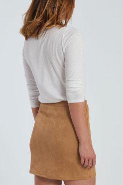 Μίνι φούστα από συνθετικό σουέντ σε καμηλό