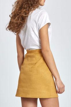 Μίνι φούστα από συνθετικό σουέντ σε ώχρα
