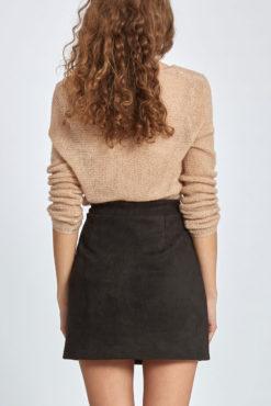 Μίνι φούστα από συνθετικό σουέντ μαύρη